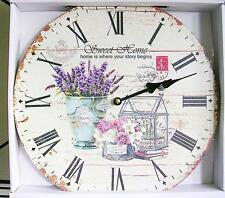 """VICTORIAN FRENCH COUNTRY FLORAL SHABBY COTTAGE CHIC WOOD WALL CLOCK 13"""" x13"""" NEW"""
