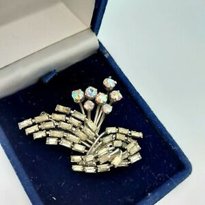 Vintage 1950s AB, Aurora Borealis Brooch With Baguette Paste Stones, Silver Tone