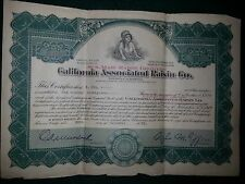 Vintage Stock Certificate California Associated Raisin Co. #31159 1922