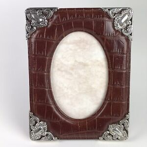 """Brown Leather Picture Frame w/ Silver Scroll Corners - 3.5"""" x 5.5"""" Oval Opening"""