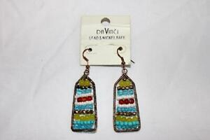 Pair of Beaded Dangle Earring Multi Colored with Gold Tone Frame