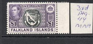 FALKLAND ISLANDS GEORGE VI £1  3rd Ptg. 44 marginal MNH verified SUPERB!
