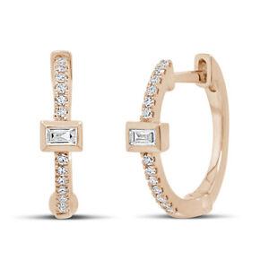 0.12 CT 14K Rose Gold Natural Baguette Cut Diamond Huggie Hoop Earrings Cuffs