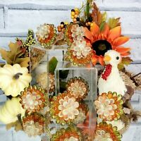 Napkin Rings (8) Fall Harvest Thanksgiving Autumn Colors Beaded Elegant Dining