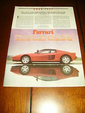 1985 FERRARI TESTAROSSA ***ORIGINAL ARTICLE / ROAD TEST***
