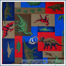 BonEful Fabric FQ Cotton Quilt Dinosaur Dino Boy Patchwork Block Red Blue Green