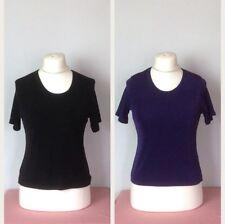 2 x Short Sleeve Slinky Stretch Jersey Tops Black / Purple 10