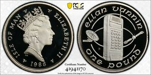 ISLE OF MAN RARE SILVER 1 POUND PROOF COIN 1988 KM#213a PCGS PR68 MOBILE PHONE