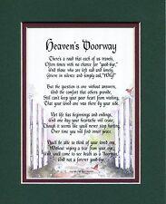 Heaven's Doorway, #103 , Touching 8x10 Poem, Double-matted in DarkGreen/burgundy