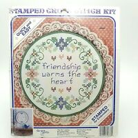 Stamped Cross Stitch Kit Friendship Warms the Heart 8.5 inch Quick Easy 30886