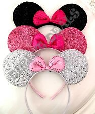 NEW 3 Pc Minnie Mouse Headband Shiny Black Pink Red Bow Shimmer Silver Ears CUTE