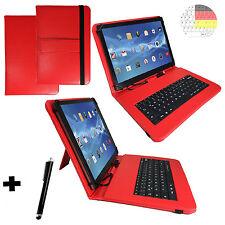 10.1 zoll Deutsch Tastatur Tasche - Samsung Galaxy Tab A 2016 Qwertz Hülle Rot