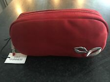 BNWT Lulu Guinness Single Zip Red Satin Make Up Bag  With Lipstick Pull