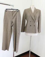 Tahari ASL Levine Brown Tan Orange Houndstooth Plaid Wool Pantsuit Set Size 8P