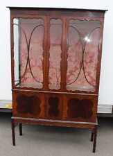 Edwardian Tall Mahogany Glazed China Cabinet with Glazed display beaded doors.