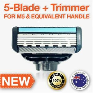 5-Blade + Trimmer Razor Blades Compatible with M5 Handle 4xRefills