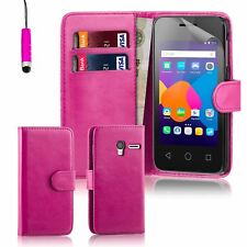 "32nd Book Wallet PU Leather Case Cover for Alcatel PHONES Screen Protector Pixi 3 3.5"" Hot Pink"