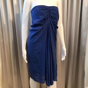 3.1 Phillip Lim Strapless Dress - SIZE 8 - Silk & Linen Blue Shift Grecian Dress