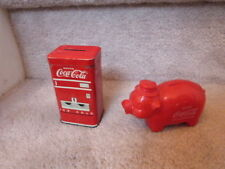 Lot of 2 Vintage Banks Tin Vending Maching & Plastic Piggy Bank 4""
