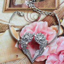 18K White Gold Angel Wing Crystal Heart Bracelet Bangle - Gift for her Mum Sis