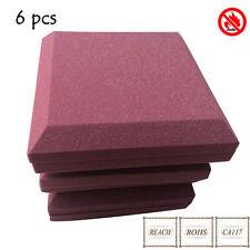 6 PCS Acoustic Absorbtion Treatment Sponge Curved Soundproof Foam Burgundy Color