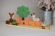 Woodland Nursery Ideas PERSONALISED Name Sign Baby Boy Gift Cute Fox Babies Room