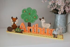 Woodland Nursery Sign PERSONALISED Name Sign Baby Boy Gift Cute Fox Babies Room