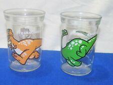 Vintage 1980's Welch's Dinosaur Drinking Glasses Tyrannosaurus Rex&Brontosaurus