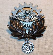 Steampunk brooch/pin- airship badge w/ wings, star, large gear, & leaves