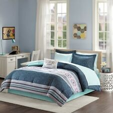 Navy & Aqua Boho-Chic Girls Twin Xl Comforter & Sheet Set (7 Pc Bed In A Bag)