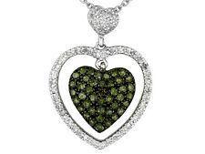 White & India Green Diamond(Tm) .50ctw Round Rhodium Over 925 S.Silver Necklace