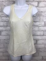 Vintage Lorraine Tank Cami Slip Top Lace Detail Nylon Cotton Ivory Size Medium