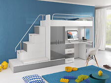 TOMI Hochbett mit Schreibtisch, Schrank, Treppe und Gästebett in Hochglanz weiß