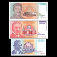 Yugoslavia 5, 50, 500 Million Dinara 1993 Banknotes Hyperinflation Currency