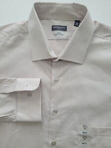Van Heusen Mens 18 34/35 Sand Houndstooth Stretch Big Fit Dress Shirt
