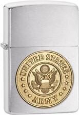 US Army Official  Brass Insignia Emblem Military Chrome Zippo Lighter