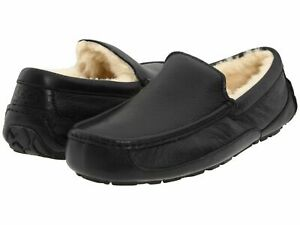 [5379B-BLK] UGG Men's Ascot Casual Slippers Leather Black *NEW*