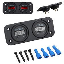 Dual Battery Monitor LED Digital DC 12v 24v Volt Meter Boat Voltage Marine Gauge