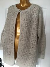 Marks And Spencer Long Sleeve CableKnit Cream Cardigan With Mohair Size 12