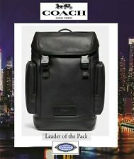 NWT COACH Men's RANGER Backpack In BLACK Smooth Calf Leather Gunmetal Hardware