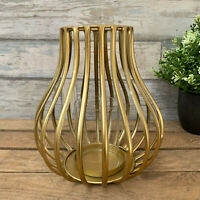 Vintage Gold Home Wedding Table Caged Wire Metal Tea Light Candle Votive Holder