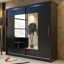 Wardrobe KOLA 06-180 Sliding Doors Mirror Hanging Rail Shelves Black White Venge