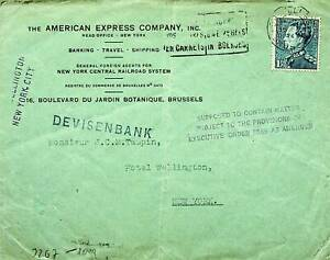 BELGIUM 1944 FAMOUS PEOPLE 1v ON WWII CENSOR COVER AMERICAN EXPRESS CO. TO USA