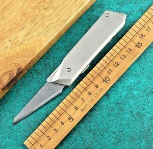 Straightback Folding Knife Pocket Hunting Survival 14C28N Steel Titanium Handle