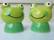 Set Green Frog Salt Pepper Shaker Ceramic Kitchenware Collectible Home Decor