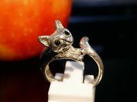Animalischer 925 Silber Ring MI Thailand Design Katze Vollplastisch Saphiraugen