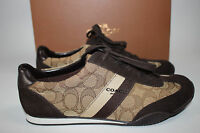 NIB COACH Size 8.5 Women's Khaki Cotton SIG C Chestnut Suede KELSON Tennis Shoe