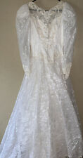 VTG WEDDING DRESS SEQUENCE 80'S LONG TRAIN  SIZE 10 GORGEOUS!!! Tons Of Detail!