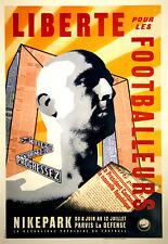 Original Vintage Sports Poster Nike Park Liberte Pour les Footballeurs Soccer