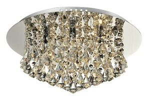 Flush Ceiling Light, 6 Lights G9 with Hanging Crystals Chrome Finish, RRP: £156